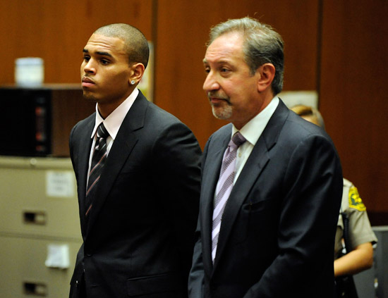 Chris Brown and his lawyer Mark Geragos at Los Angeles County Superior Court (August 5th 2009)