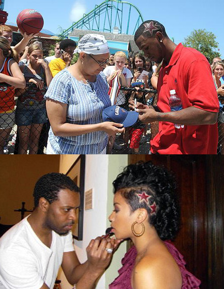 "Daniel ""Boobie"" Gibson at Cedar Point in Ohio (top) // Keyshia Cole preparing for a photoshoot in Cleveland (bottom)"