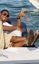 Usher at La Voile Rouge Beach in St. Tropez, France (August 22nd 2009)