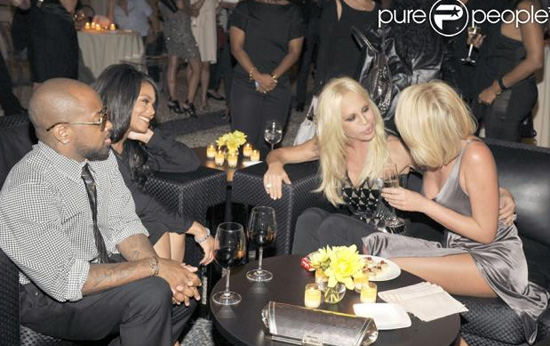 Janet Jackson, Jermaine Dupri and Donatella Versace at a private party in Milan, Italy during fashion week 2009