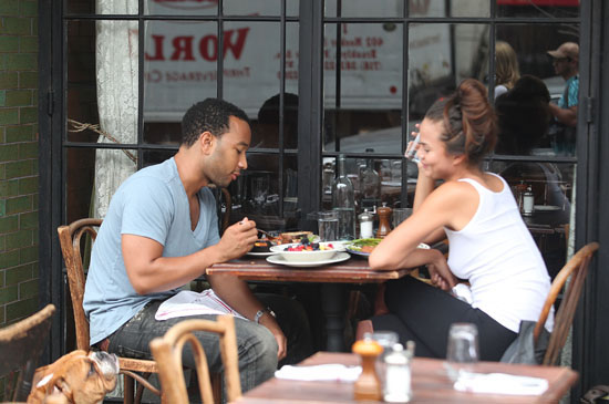 John Legend and Christine Teigein out at lunch at a restaurant in Soho, New York City (September 23rd 2009)