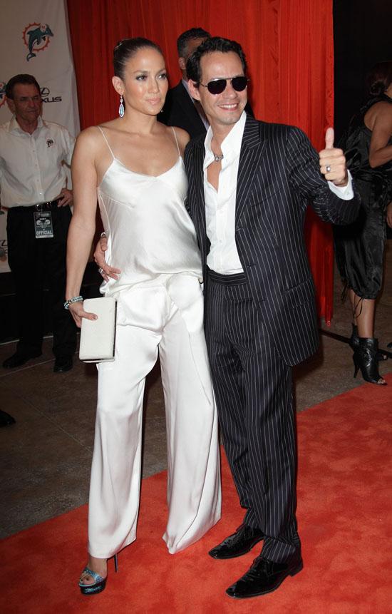Jennifer Lopez & Marc Anthony // Miami Dolphins vs. NY Jets Monday Night Football Game in Miami, FL