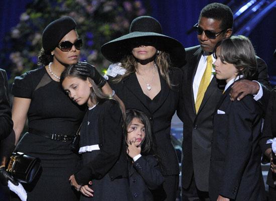 (L-R) Singer Janet Jackson, Paris Jackson, Prince Michael II, La Toya