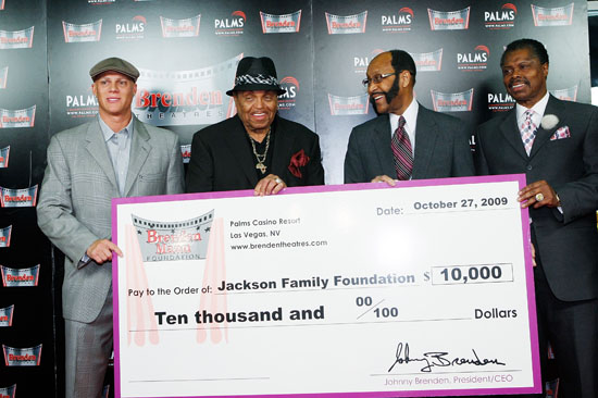 """Johnny Brenden, Joe Jackson, Mayor Rudy Clay and Developer Odie Anderson // Press Conference in Las Vegas Announcing the new """"Jackson Family Museum & Performing Arts Center"""" in Gary, Indiana"""