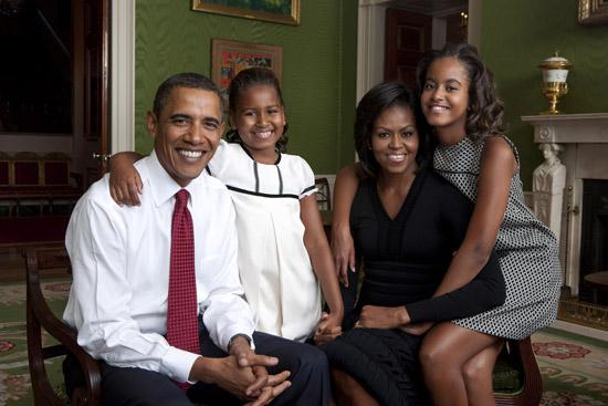The Obama Family (President Barack Obama, Sasha Obama, First Lady Michelle Obama and Malia Obama)