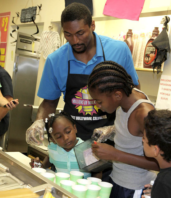 "Ron Artest visits Millions of Milkshakes in West Hollywood to create his custom milkshake, ""The Defensive Booster"""