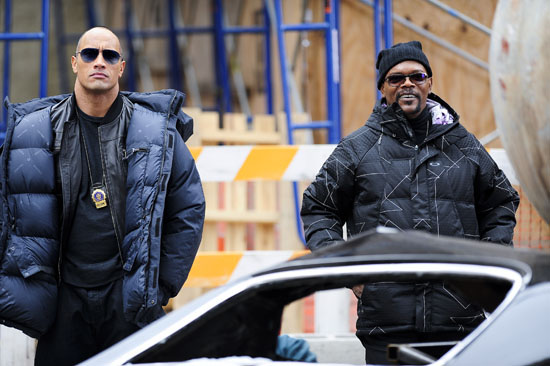 "Dwayne ""The Rock"" Johnson and Samuel L. Jackson on the set of new movie ""The Other Guys"" in Manhattan, New York City (October 23rd 2009)"