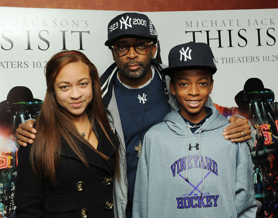 """Spike Lee, his daughter Satchel and his son Jackson // Michael Jackson """"This Is It"""" Movie Premiere in New York City"""