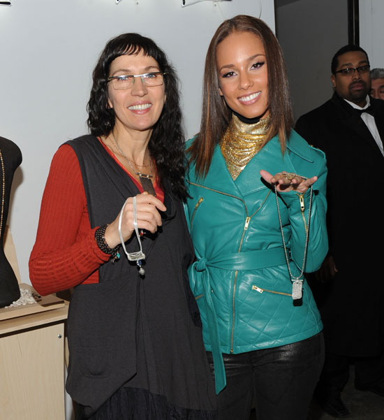 Alicia Keys promoting her new Jewelry line with Barber's Daughters Designer Gisele Theriault