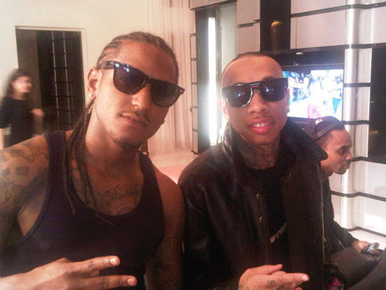 "Lloyd & Tyga on the set of Young Money & Lloyd's new ""Bedrock"" music video"