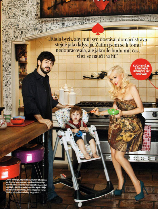 Christina Aguilera, her husband Jordan Bratman and their son Max in their Beverly Hills home