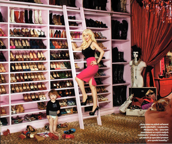 Christina Aguilera and her son Max Bratman in her closet inside her Beverly Hills home
