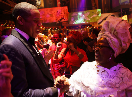 """Jay-Z and Lillias White // Opening night of """"Fela!"""" on Broadway in New York City"""