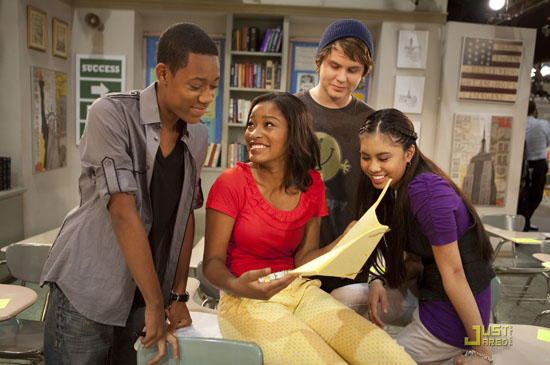 "Tyler James Williams, Keke Palmer, Ashley Argota and Matt Shively on the set of Nicekelodean's ""True Jackson VP: Flirting With Fame"" movie"