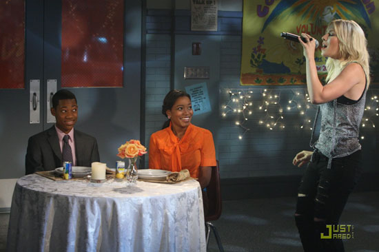 "Tyler James Williams, Keke Palmer and Natasha Bedingfield on the set of Nicekelodean's ""True Jackson VP: Flirting With Fame"" movie"