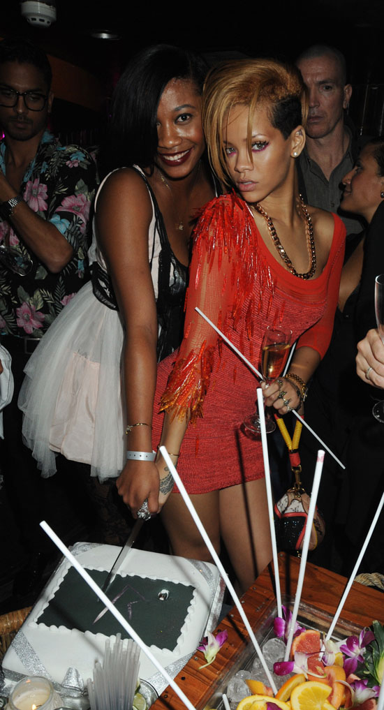 Rihanna and her best friend/assistant Melissa Ford // Rihanna's Nokia Concert Afterparty at Mahiki, Mayfair in London