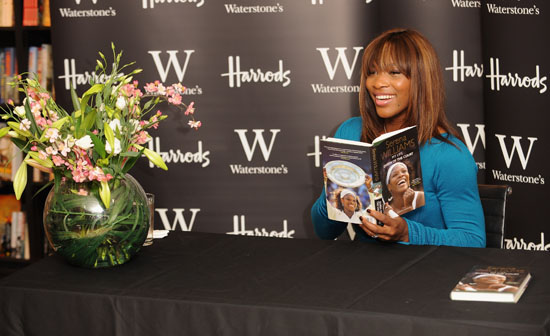 "Serena Williams at a book signing at Harrods in London for her new book ""Queen of the Court"""