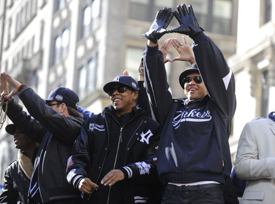 Jay-Z and Alex Rodriguez // New York Yankees World Series Victory Parade in NYC