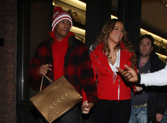 Nick Cannon and Mariah Carey leaving the Gucci store in Aspen, CO - December 21st 2009