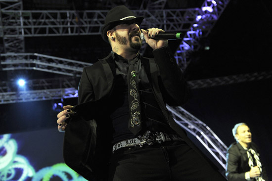 """AJ Mclean of the Backstreet Boys perform for their """"This Is Us"""" tour in Belgrade, Serbia"""