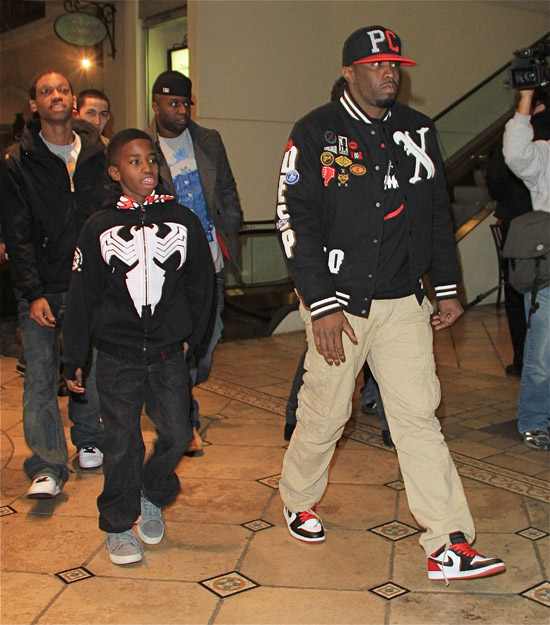 Diddy and his 11-year-old son Christian Combs leave a Hollywood movie theater - December 22nd 2009
