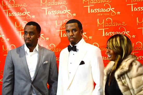 "Sean ""Diddy"" Combs and his mother Janice // Madame Tussauds in New York City"