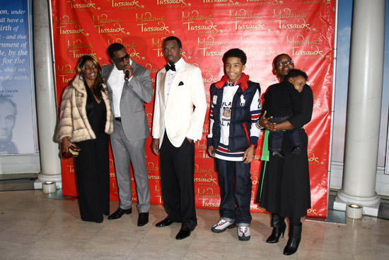 Diddy, his mother Janice Combs, his son Justin, his sister and his nephew // Madame Tussauds in New York City