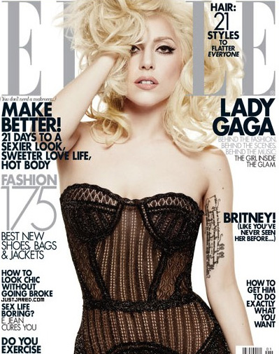 Lady Gaga on the cover of the January 2010 issue of Elle Magazine