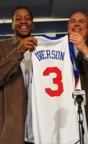 Allen Iverson and Ed Stefanski of the Sixers // Philadelphia 76ers Press Conference