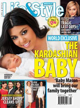 Kourtney Kardashian and her newborn son Mason cover Life & Style Magazine