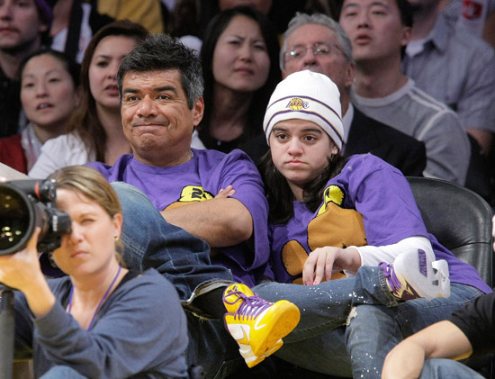 George Lopez and his daughter Mayan // Los Angeles Lakers vs. Cleveland Cavaliers basketball game in LA - December 25th 2009