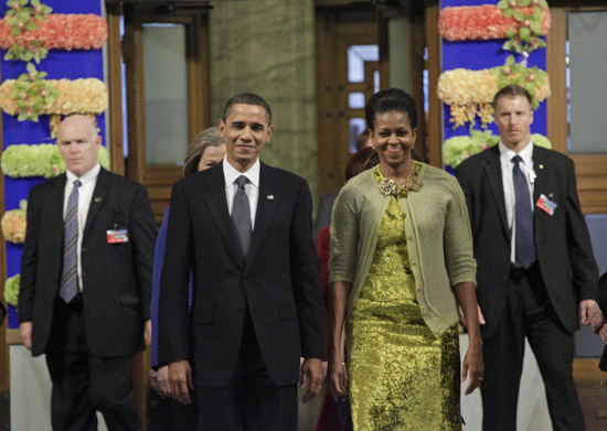 President Barack Obama and First Lady Michelle // Nobel Peace Prize Press Conference in Norway