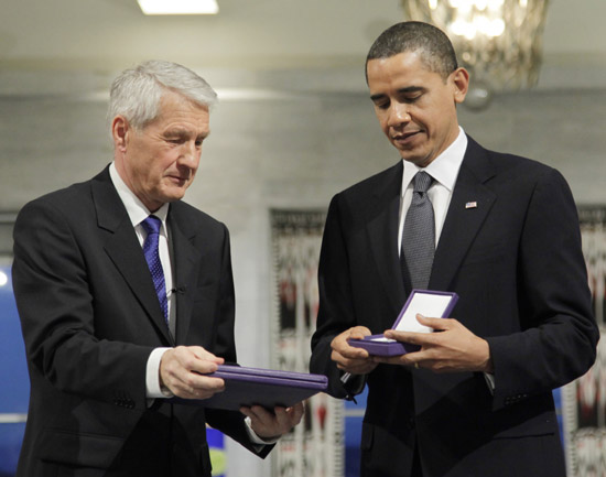 President Barack Obama and Thorbjoern Jagland (Chairman of the Norwegian Nobel Committee) // Nobel Peace Prize Press Conference in Norway