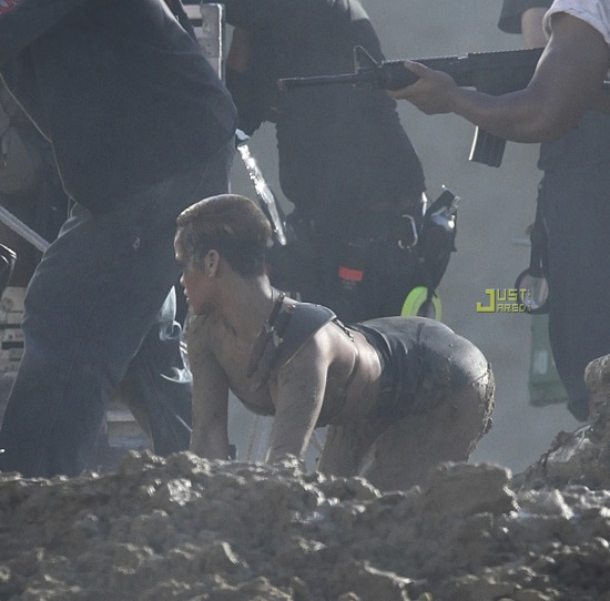 """Rihanna on the set of her new """"Hard"""" music video in Simi Valley, CA - December 1st & 2nd 2009"""