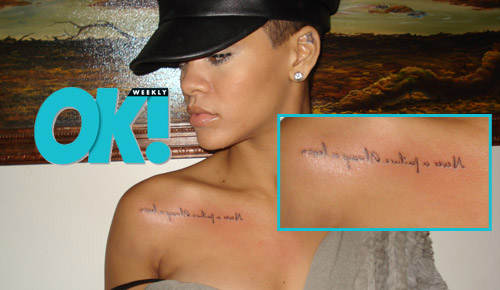 "Rihanna's new ""Never a failure, always a lesson."" tatoo"