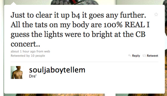 Soulja Boy says on Twitter) has tattoos are real!