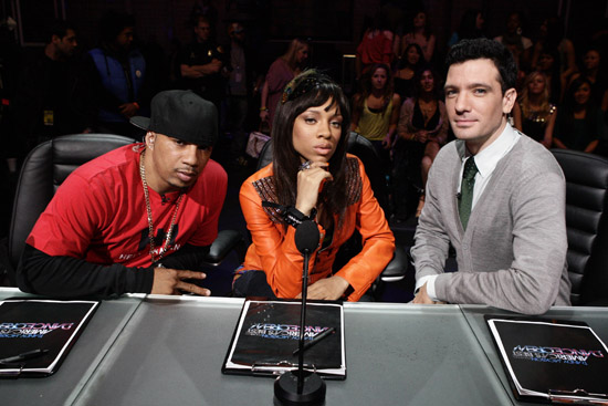 "Shane Sparks, Lil Mama and JC Chasez of MTV's ""America's Next Best Dance Crew"""