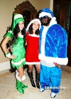 T-Pain, his wife Amber and a guest // T-Pain's Christmas Party at the Nappy Boy Mansion in Atlanta