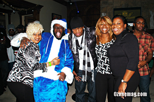T-Pain's mom Aliyah, T-Pain, Ne-Yo, Ne-Yo's mom Loraine and Lil Wayne's mom Miss Cita // T-Pain's Christmas Party at the Nappy Boy Mansion in Atlanta