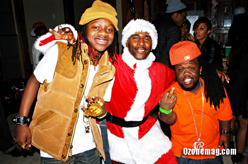 Lil Chuckee (from Young Money) and Midget Mac with Santa Clause // T-Pain's Christmas Party at the Nappy Boy Mansion in Atlanta