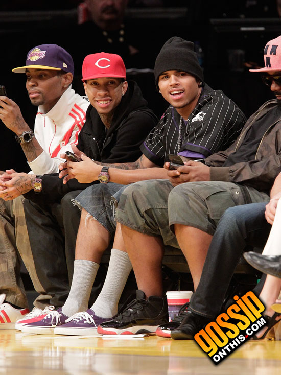 Tyga, Chris Brown and Polow Da Don // Los Angeles Lakers vs. Utah Jazz Basketball Game in Los ...
