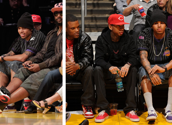Rapper Rich Boy (Polow's artist) was also at the game.