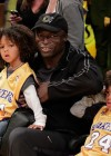 Seal and his two sons Harry and Johan at the Los Angeles Lakers vs. Oklahoma City Thunder
