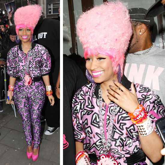 Nicki Minaj rocked a bright pink jumpsuit (paired with an ever brighter pink