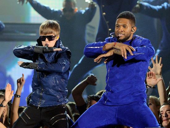 justin bieber grammys. Justin Bieber and Usher both