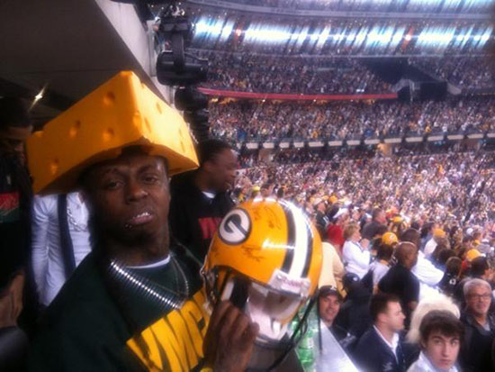 Lil Wayne Reps for the Green Bay Packers with Cheese Head Hat at the Super