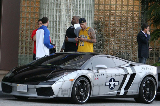 Chris Brown Pulls Up At The Gym In His Custom Jet Fighter Lambo