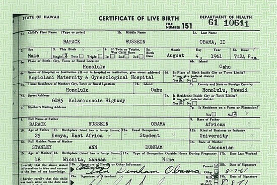 President Obama\'s OFFICIAL Birth Certificate