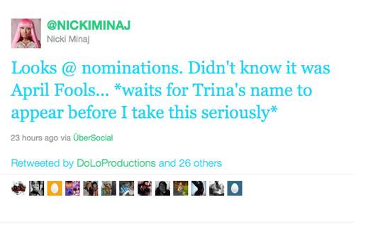 nicki minaj 2011 bet awards. Nicki Minaj tweeted the