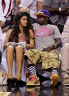 "Lil Wayne and his new ""mystery"" girl at the Miami Heat vs. Chicago Bulls Playoff Game in Miami"